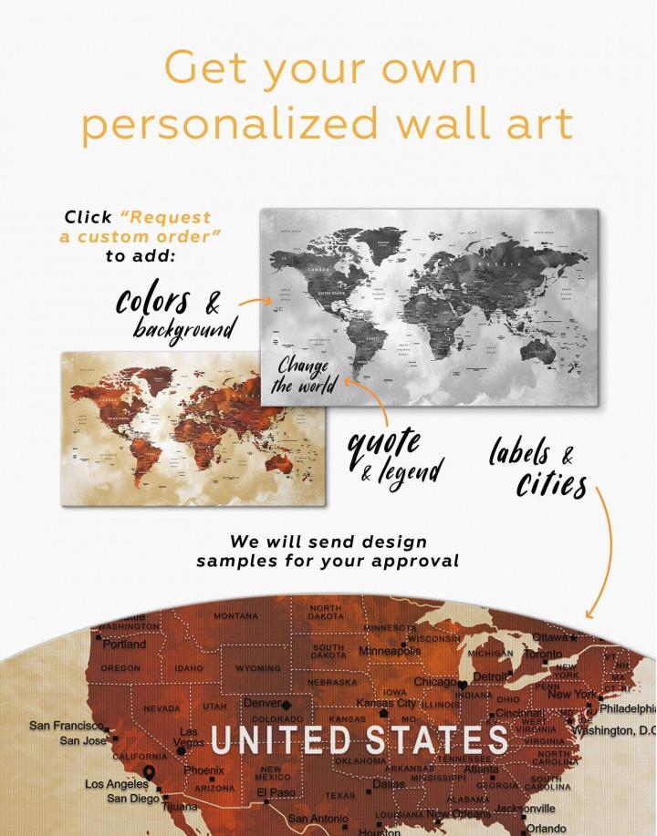 Brown Push Pin World Canvas Wall Art - Image 3