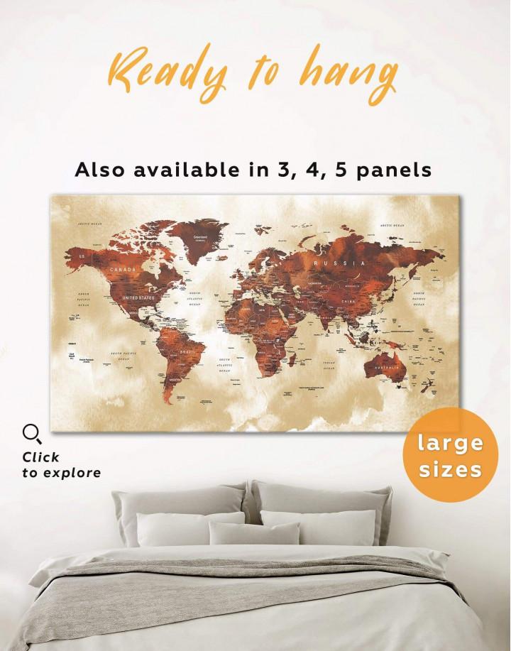 Brown Push Pin World Canvas Wall Art - Image 0