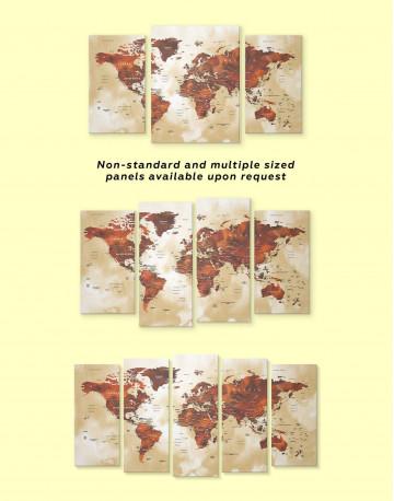 Brown Push Pin World Canvas Wall Art - image 4