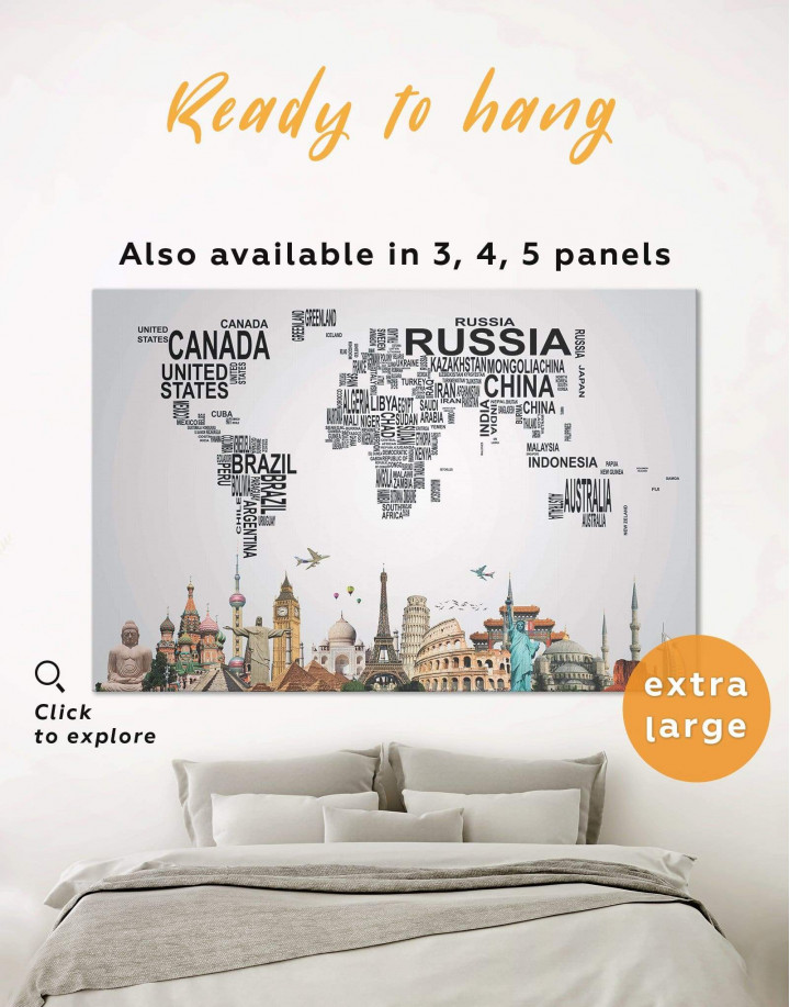 Text Abstract World Map Canvas Wall Art