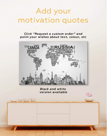 Text Abstract World Map Canvas Wall Art - image 3