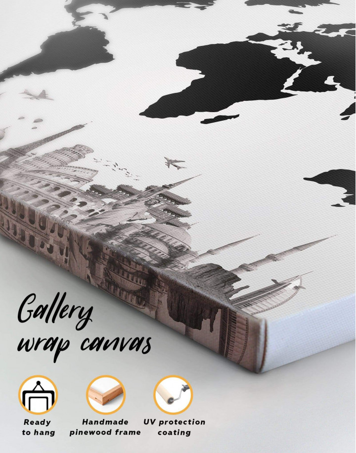 Black World Map with Monuments Canvas Wall Art - Image 2