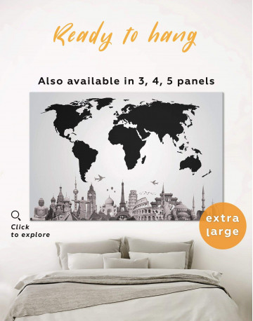 Black World Map with Monuments Canvas Wall Art