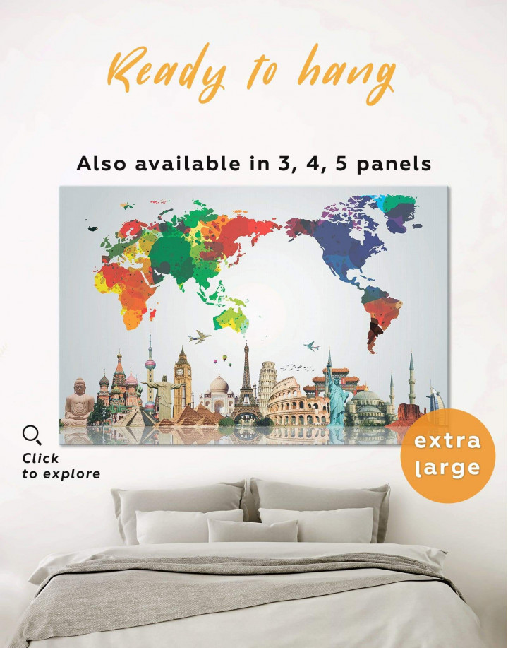 Bright World Map with Landmarks Canvas Wall Art - Image 0