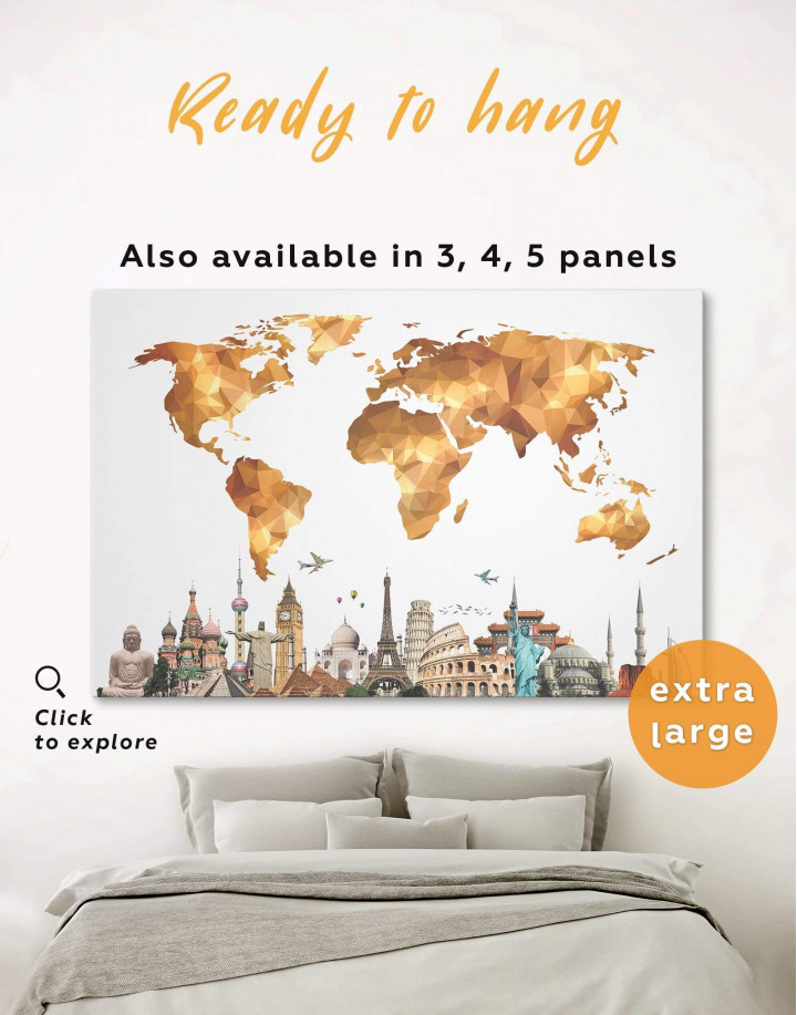 Gold Geometric World Map with Sightseeings Canvas Wall Art - Image 0