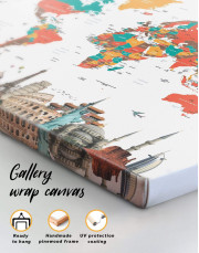 Abstract World Map with Monuments Canvas Wall Art - Image 1
