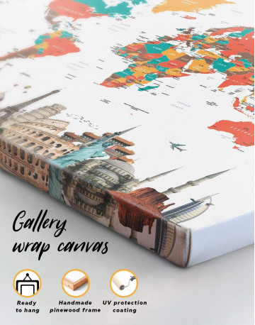 Abstract World Map with Monuments Canvas Wall Art - image 4