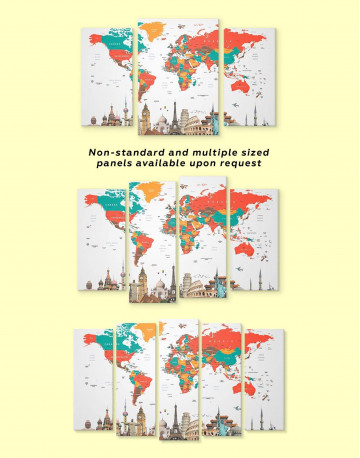 Abstract World Map with Monuments Canvas Wall Art - image 2