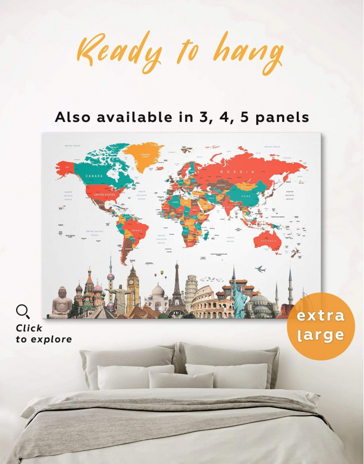 Abstract World Map with Monuments Canvas Wall Art - Image 0