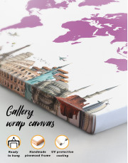 Purple World Map with Landmarks Canvas Wall Art - Image 1