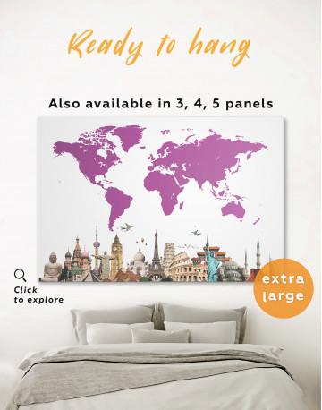 Purple World Map with Landmarks Canvas Wall Art