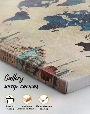 Abstract World Map With Attractions Canvas Wall Art - image 3