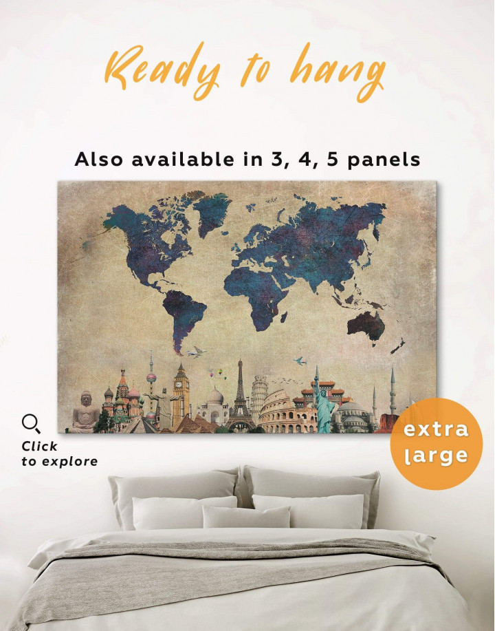 Abstract World Map With Attractions Canvas Wall Art - Image 0