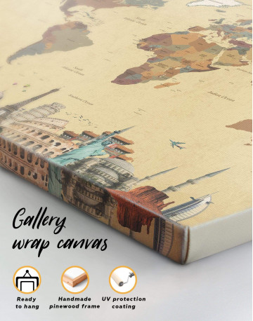 Modern World Map with Landmarks Canvas Wall Art - image 3