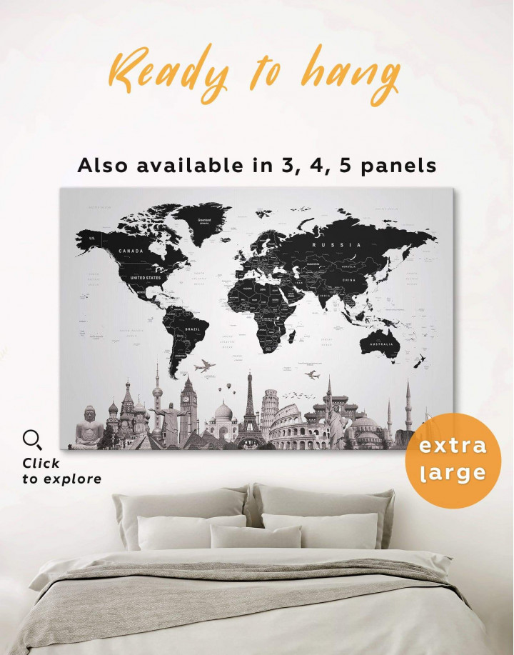 Modern Black and White World Map Canvas Wall Art - Image 0