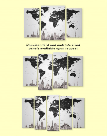 Modern Black and White World Map Canvas Wall Art - image 2