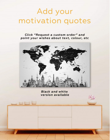 Modern Black and White World Map Canvas Wall Art - image 1