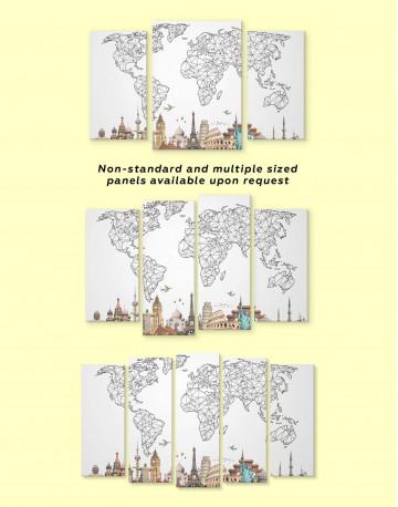 Geometric World Map with Landmarks Canvas Wall Art - image 4