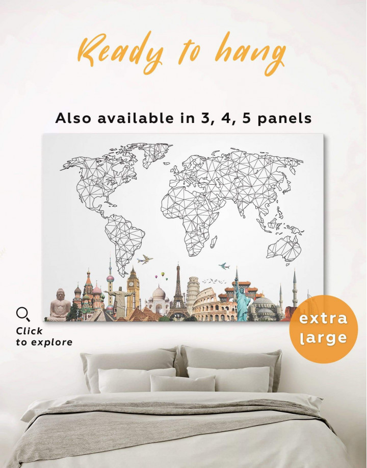 Geometric World Map with Landmarks Canvas Wall Art - Image 0