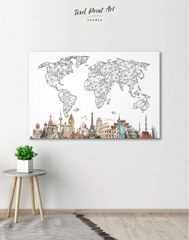 Geometric World Map with Landmarks Canvas Wall Art - Image 5