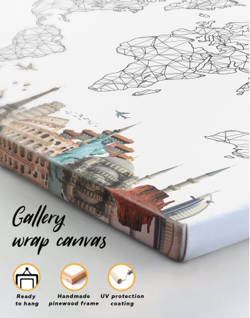 Geometric World Map with Landmarks Canvas Wall Art - image 1