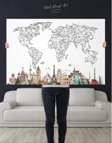Geometric World Map with Landmarks Canvas Wall Art - image 6