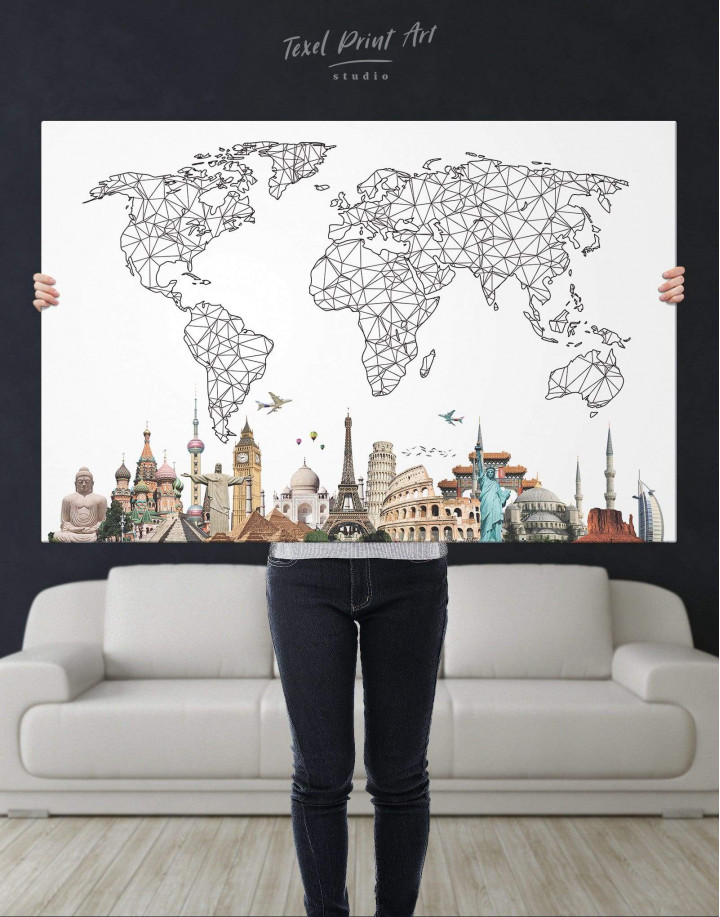 Geometric World Map with Landmarks Canvas Wall Art - Image 1