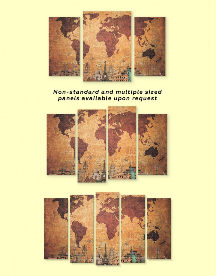 Ancient Style World Map Canvas Wall Art - Image 3