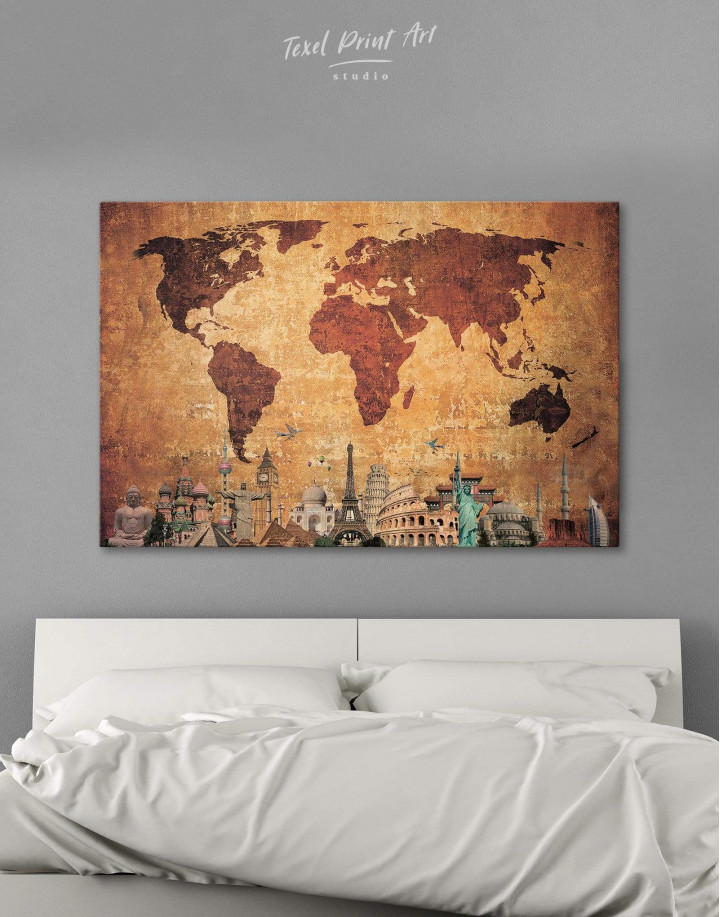 Ancient Style World Map Canvas Wall Art - Image 1