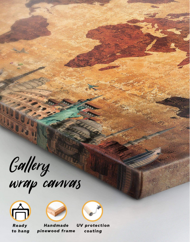 Ancient Style World Map Canvas Wall Art - Image 6