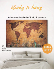 Ancient Style World Map Canvas Wall Art - Image 0