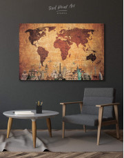 Ancient Style World Map Canvas Wall Art - Image 5