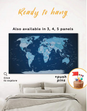 Deep Blue Push Pin World Map Canvas Wall Art - Image 0