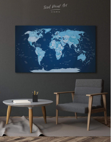 Deep Blue Push Pin World Map Canvas Wall Art - image 1