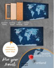 Deep Blue Push Pin World Map Canvas Wall Art - Image 3