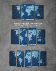 Deep Blue Push Pin World Map Canvas Wall Art - Image 5