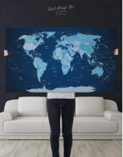 Deep Blue Push Pin World Map Canvas Wall Art - Image 2