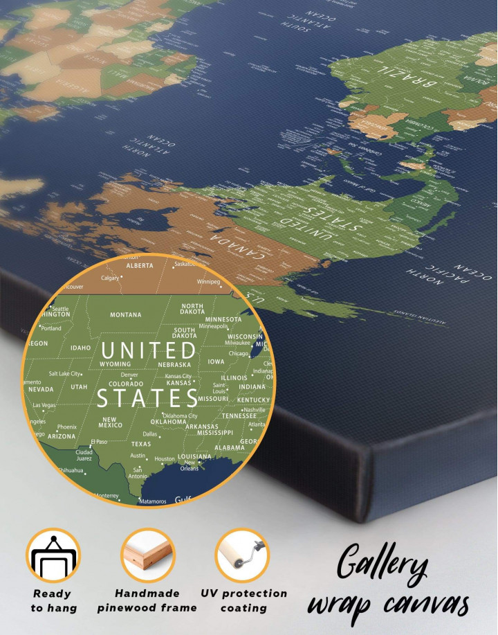 Blue Travel World Map Canvas Wall Art - image 4