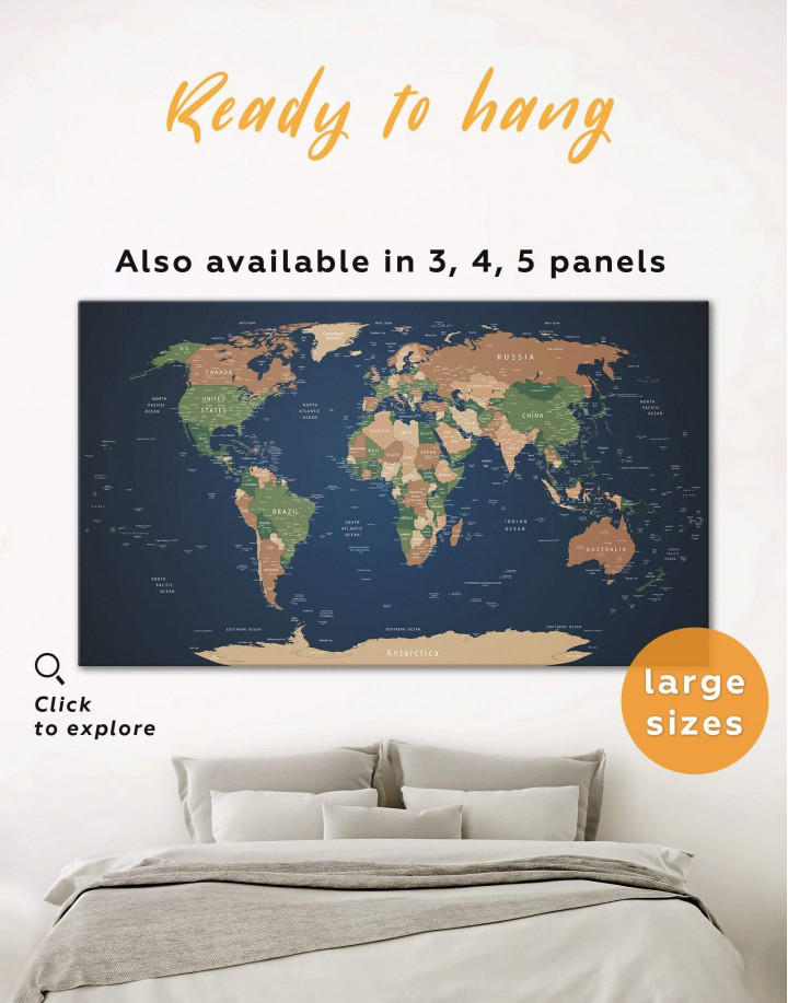 Blue Travel World Map Canvas Wall Art