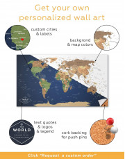 Blue Travel World Map Canvas Wall Art - image 1
