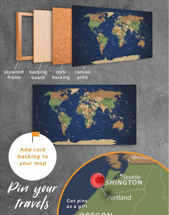 Blue Travel World Map Canvas Wall Art - image 3