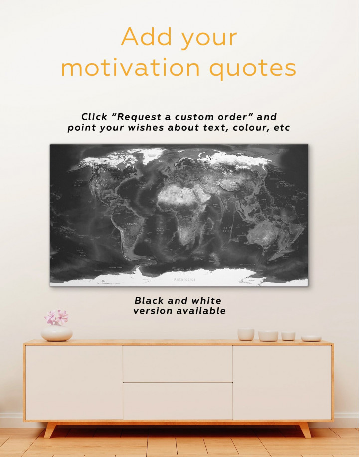 Physical Map of the World Canvas Wall Art - Image 1