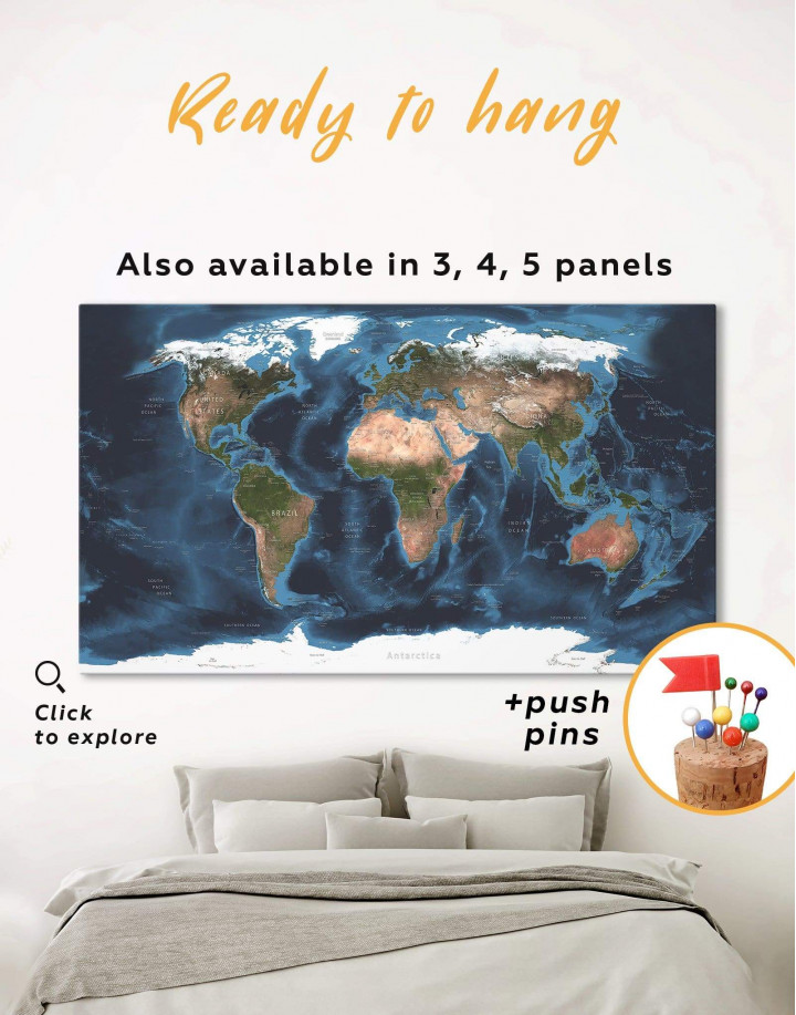 Physical Map of the World Canvas Wall Art - Image 0