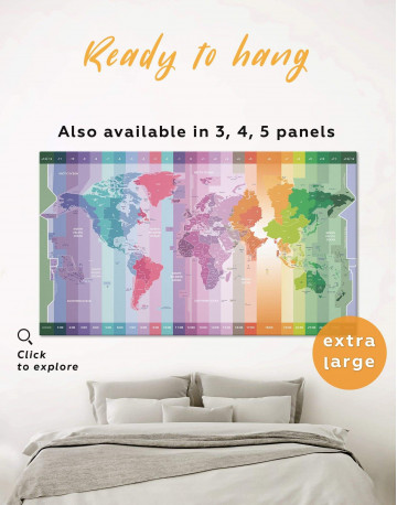 Multicolor World Time Zone Map Canvas Wall Art