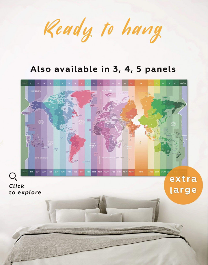 Multicolor World Time Zone Map Canvas Wall Art - Image 0