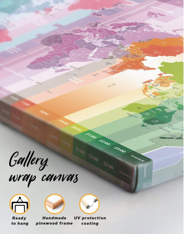 Multicolor World Time Zone Map Canvas Wall Art - image 2