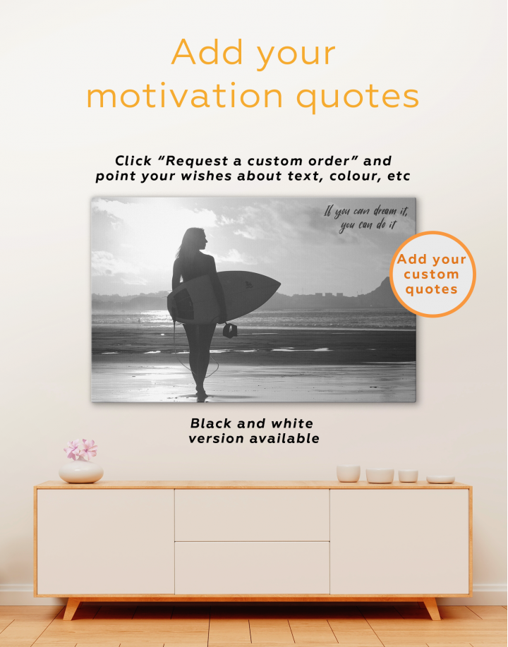 Surfer Girl Sunset Silhouette Canvas Wall Art - Image 2