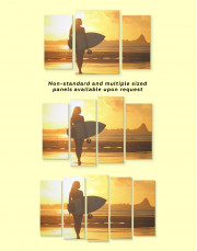 Surfer Girl Sunset Silhouette Canvas Wall Art - Image 3