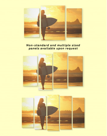 Surfer Girl Sunset Silhouette Canvas Wall Art - image 1