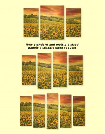 Beautiful Sunflower Field Canvas Wall Art - image 3